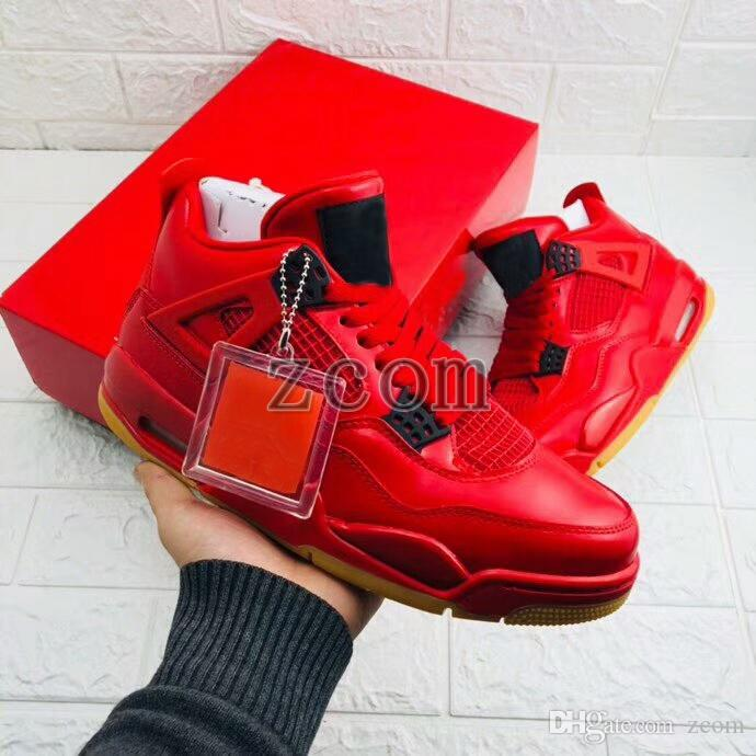 pretty nice bbb8d f2f59 2018 New Jumpman 4 IV Singles Day All Red Basketball Shoes Women Mens  Trainers Tattoo Cement White Blue for 4s Authentic Zapatillas 5-13