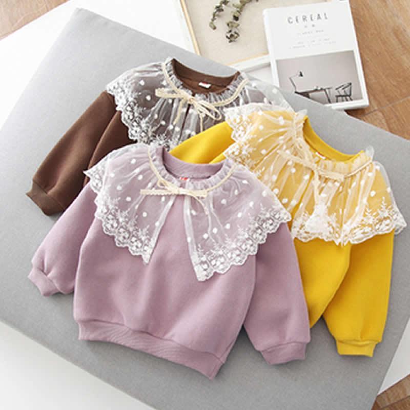 eedb0d2d0 Ropa infantil Las niñas se visten de otoño e invierno de 2018. Conjuntos de  collar de encaje de empalme para niños. Agregar lana de lana. Sudadera ...