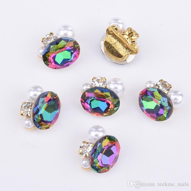 50 stücke 3d nagel schmuck Legierung nail art strass kristall strass tropfen glas diamant gold charms oval edelsteine für nagel dekoration liefert Y1052