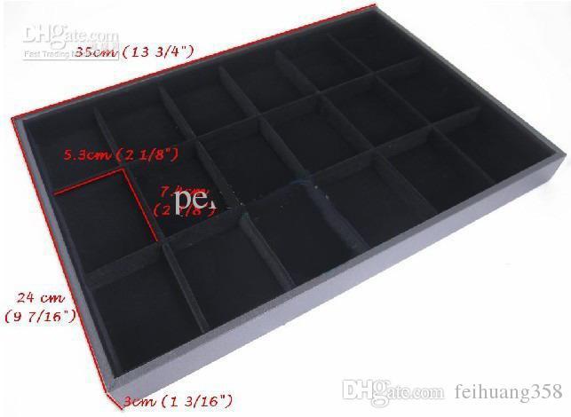 18 24 bölme Siyah Kadife charm boncuk zincir küpe Takı Ekran Durumda Tepsi