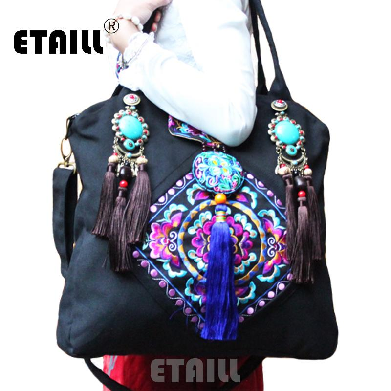 efa0ceb6ec Chinese Brand Ladies Large Hmong Boho Flower Embroidery Bags Ethnic  Crossbody Bag Embroidered Sequins Handbags Sac A Dos Femme Hobo Purses  Leather Bags For ...