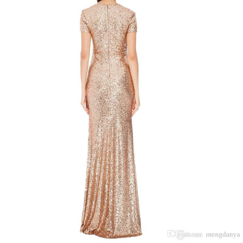2019 Honey Qiao Bridesmaid Dresses Rose Gold Sequins Mermaid Short Sleeves High Back Party Gowns Champagne Burgundy Maid of Honor Gowns E5