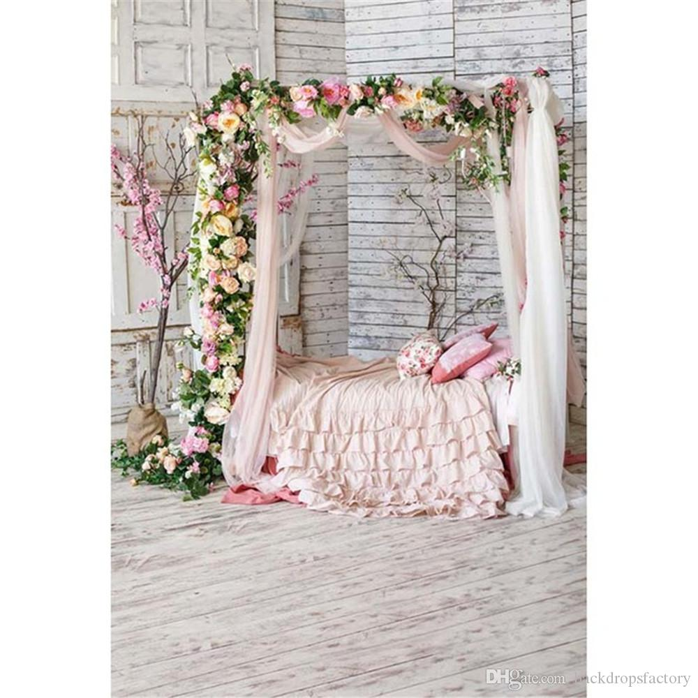 2019 Princess Baby Shower Backdrop White Wooden Wall Floor