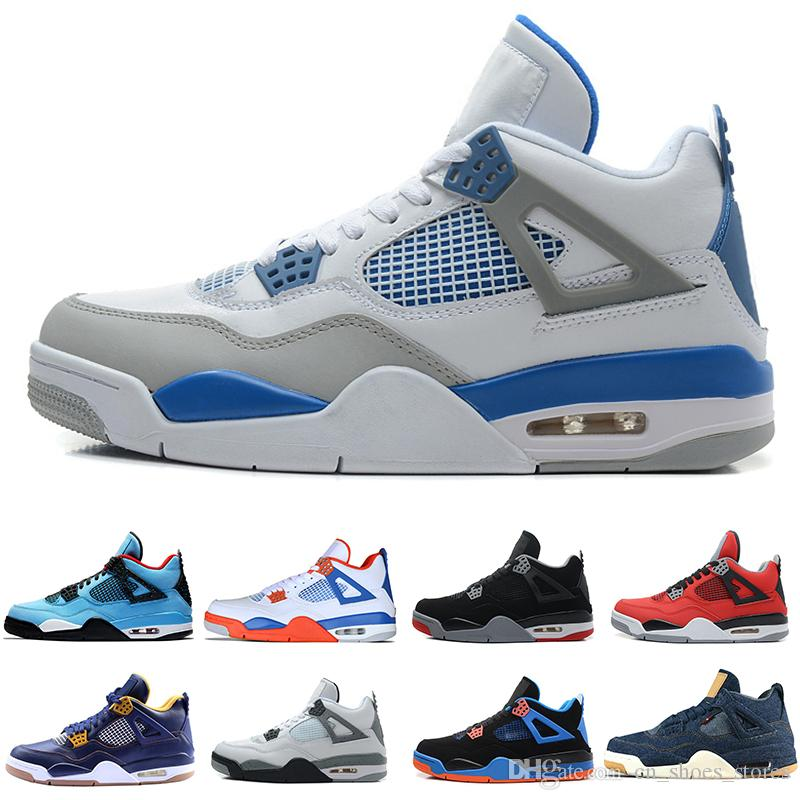 e4a3c5d3e987 4 4s Mens Basketball Shoes White Cement Pure Money Black Cat Bred Oreo Fear  Pack Royalty Toro Bravo Angry Bull Military Blue Sports Sneakers Sports  Shoes ...