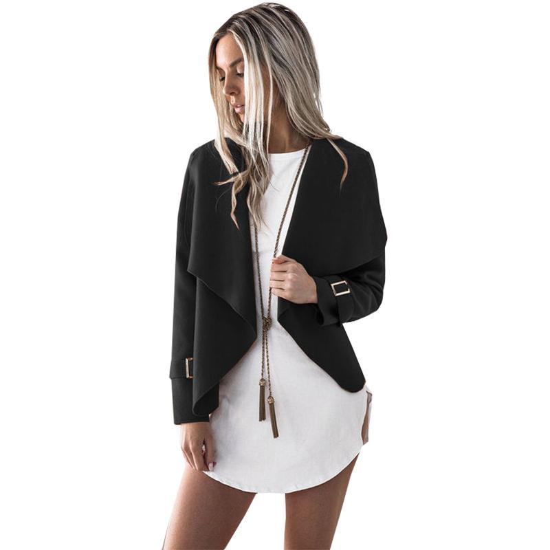 comprar online 938f0 ebd61 Chaqueta de mujer otoño nueva ropa de mujer Europa solapa viento manga  larga de lana falsa abrigo Vestidos De Festa BLKA6265