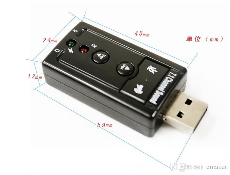 JP209-B CM108 Mini USB 2.0 3D externe 7.1 canaux Son Virtual 12Mbps Audio Adaptateur Carte son de haute qualité