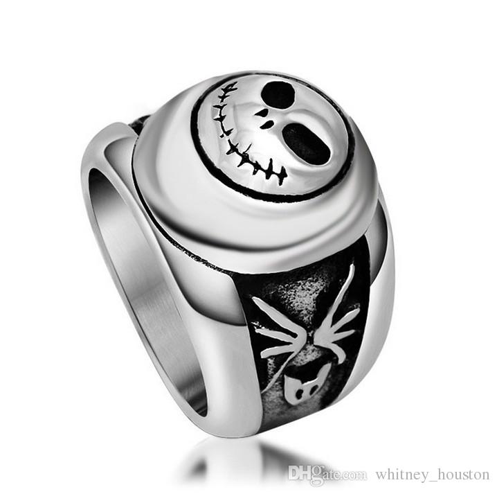 Skull Smiling Face Stainless Steel Ring Gothic Vintage Biker Look Style US Size 6 to 10 Drop Shipping
