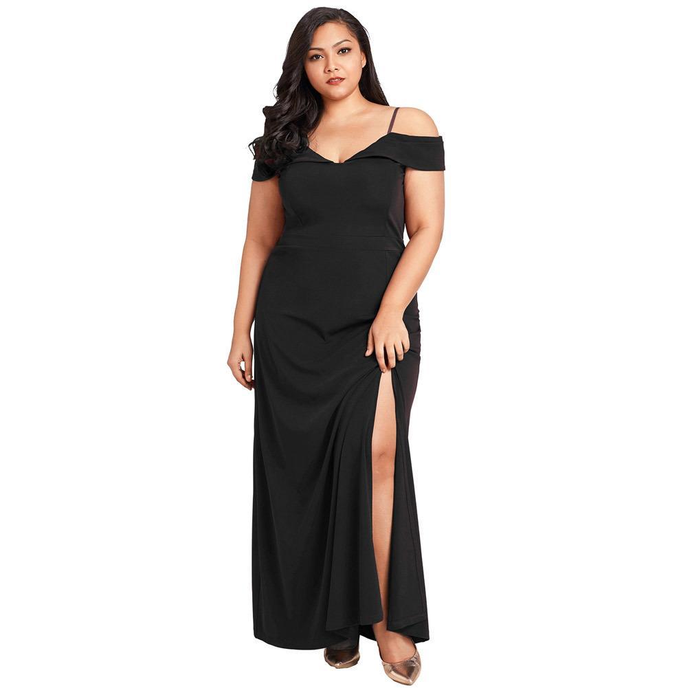 Sexy Women Dress Plus Size Off The Shoulder Slit Dress V Neck Long Party  Evening Elegant Maxi Dress Black Dresses Large Sizes Casual Dresses Cute  Dresses ... 8123b4a53965