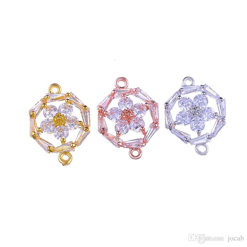 Wholesale DIY Handmade Jewelry Findings Components Luxury Cubic Zirconia Crystal Flower Connectors Bracelets Necklace Jewellery Accessories