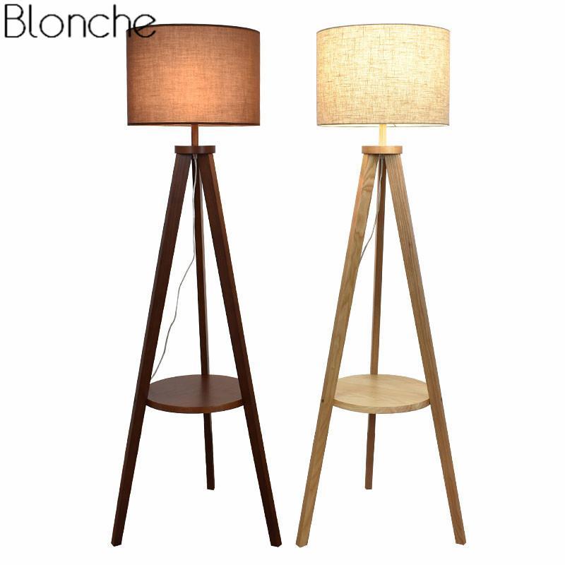 Modern Wooden Floor Lamp Fabric Lampshade Nordic Wood Standing Lamp Light For Living Room Bedroom Indoor Home Lighting Fixtures