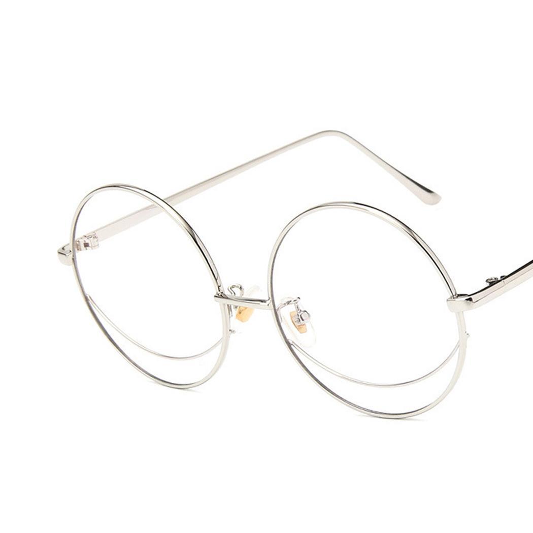 142b2a11779f2 Compre 2018 Vintage Oversized Óculos De Armação Clara Lente De Metal  Armação Rodada Óculos Mulheres Homens Clássico Espelho Plano Óculos Oculos  De Zaonoodle ...