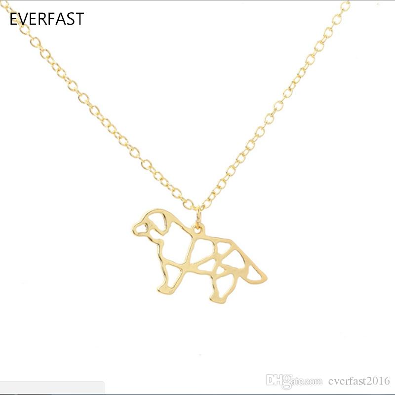 Everfast New Fashion Cute French Bulldog Origami Puppy Dog Pendant Necklace Long Chain Necklace Women Charm Bijoux Jewelry EFN031-A