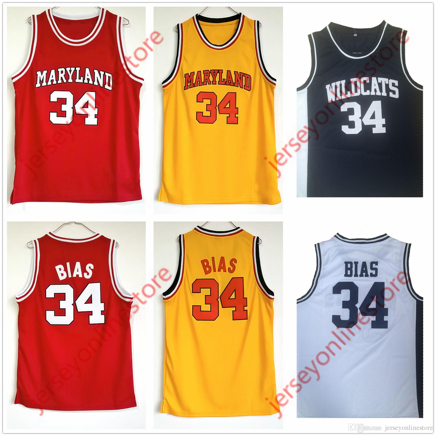 418d0a3e49b Mens Maryland Terps 34  Len Bias College Basketball Jersey Red Yellow Black  White Stitched Northwestern Wildcats High School Jerseys Canada 2019 From  ...