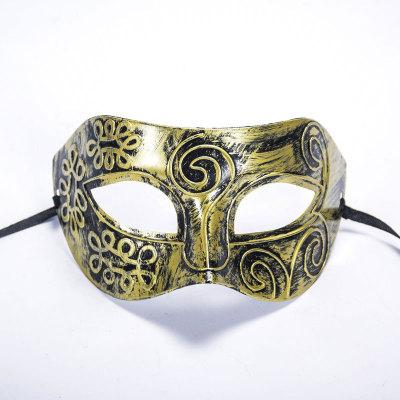 Handsome Halloween Golden Silver Rome Man Half Face Bronze Mask Flat Carving Venice Mask For Masquerade Party