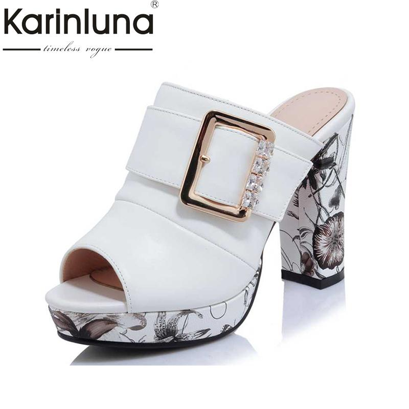 KarinLuna Big Size 32-42 Fashion Women Bohemia Flower Print High Heel Summer Shoes women Party Wedding Open Toe Platform Sandals