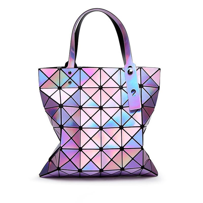 606f582646 2017 Fashion Ladies Folded Geometric Plaid Bag Women Laser Bright Casual  Totes Bag Shoulder Bags Fold Over Bao Bao Handbags Crossbody Purse Travel  Bags For ...