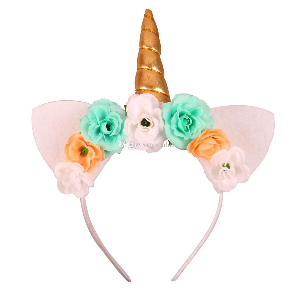 Moda Unicorn Kafa Parti Malzemeleri Kızlar Şifon Çiçekler Hairband Çocuklar Cosplay Taç Çocuk Doğum Günü Partisi Sevimli Kedi Kulaklar WX9-405