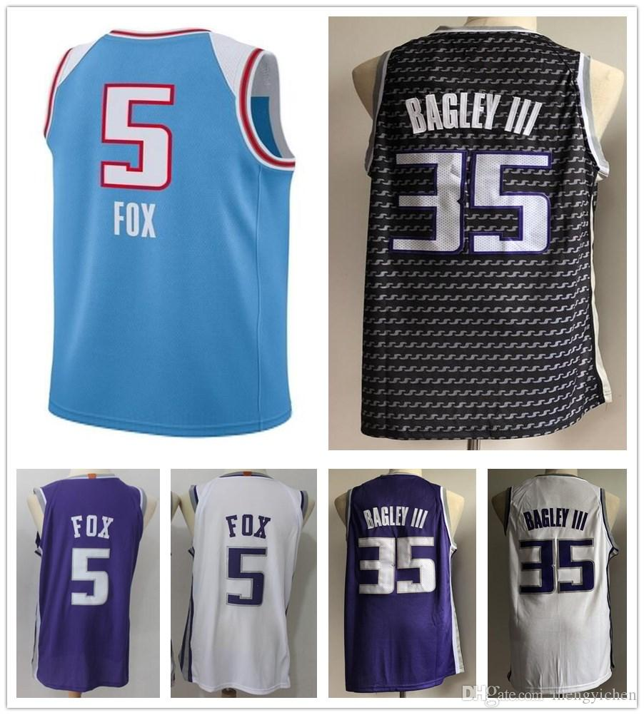 2019 2019 New City Edition Blue 35 Marvin Bagley III Jerseys Black Purple  White 5 De Aaron Fox Jersey DeAaron Fox Stitched Shirt Sportswear From ... 1394199f1