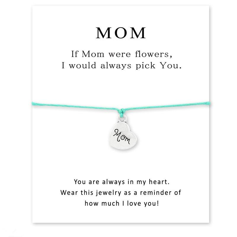 6aaa51ee81568 1Pcs Multi Colors Happy Mothers Day Card Charm Bracelets Infinity Wish Mom  Antique Silver Adjustable Gifts Jewelry Accessories