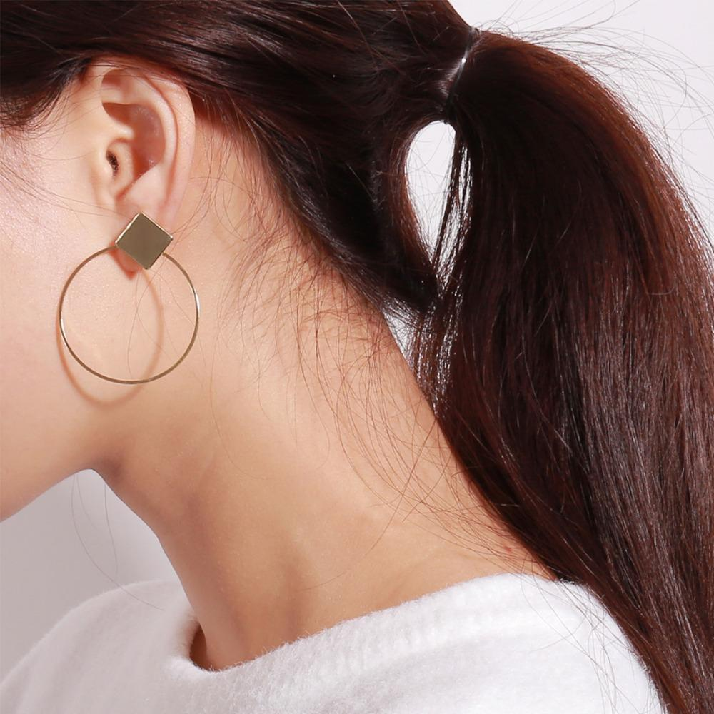 85f0585771a1a 1Pair 5cm Minimalism Round Circle Hoop Earring For Women Girl Gold Silver  Color Square Geometry Ear Hoop Jewelry Gift EC404