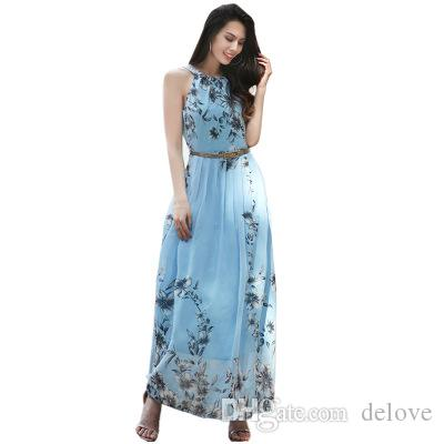 European and American 2018 spring plus-size women's new chiffon frock dress skirt hot style printed skirt
