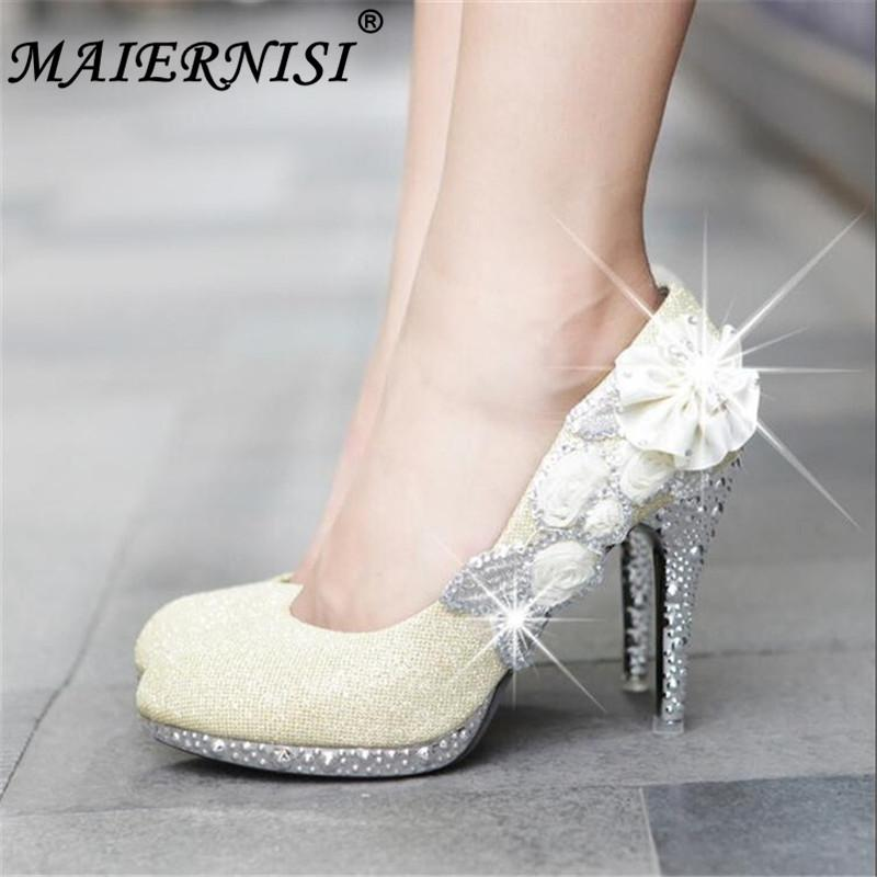 ba365379c35 Wedding Shoes Glitter Gorgeous Bridal Evening Party Crystal High Heels  Women Shoes Sexy Woman Pumps Silver Bridal Shoes Shoes Uk Mens Chelsea Boots  From ...