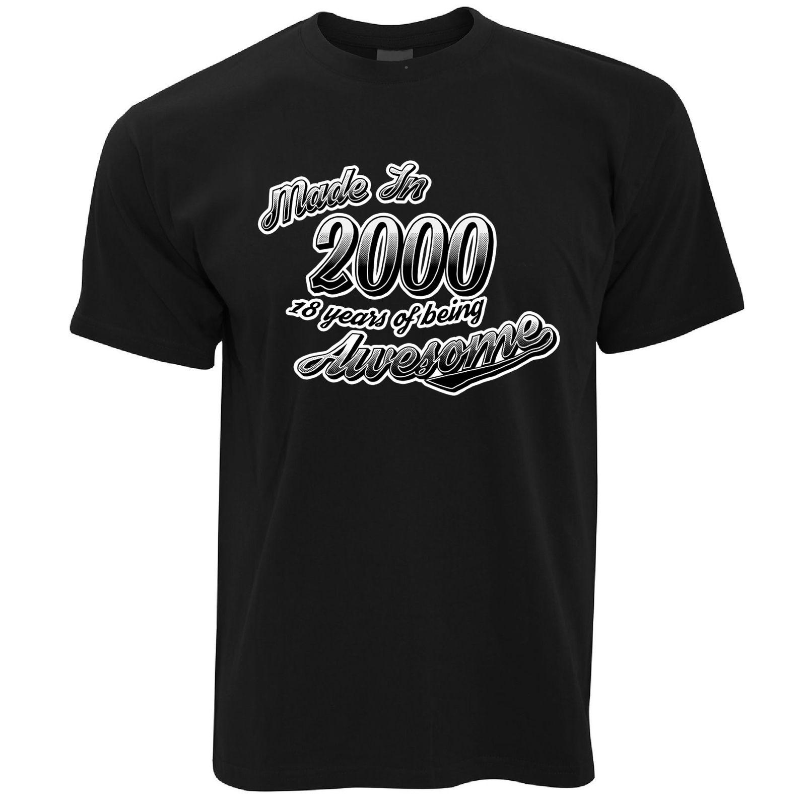 18th Birthday T Shirt Made In 2000 18 Years Of Awesome Retro Gift Idea Cool Casual Pride Men Unisex Fashion Shirts Free Shipping