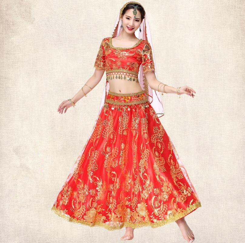 Compre Traje De Princesa De Bollywood Indio Profesional 4 Piezas Traje De  Rendimiento De Danza Del Vientre Sari Conjunto Rojo A  95.89 Del Manxinxin  ... 267dbf8207c
