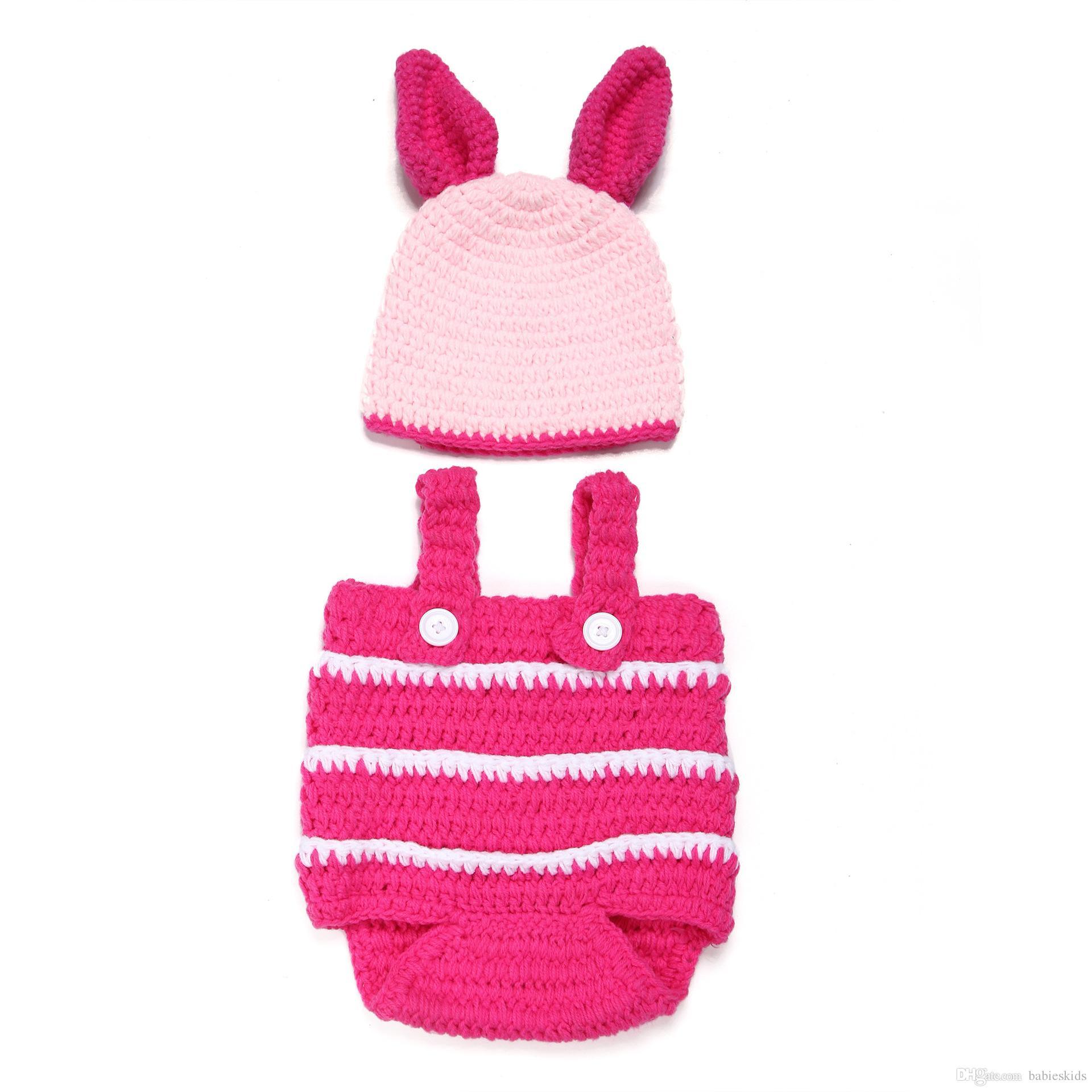 Nouveau Lapin Lapin Nouveau-Né Bébé Vêtements Enfants Photographie Accessoires Costume Avec Chapeau Lapin De Pâques Infantile Bébé Photo Prop Crochet Photographie Props
