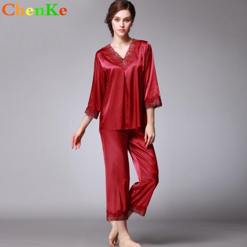 1e9f814f21c5d8 ChenKe Mulheres De Seda De Cetim Conjuntos De Pijama Pijama Rendas Elegante  Sleepwear Pijamas Terno Feminino Cropped Calças Duas Peças Conjuntos De ...