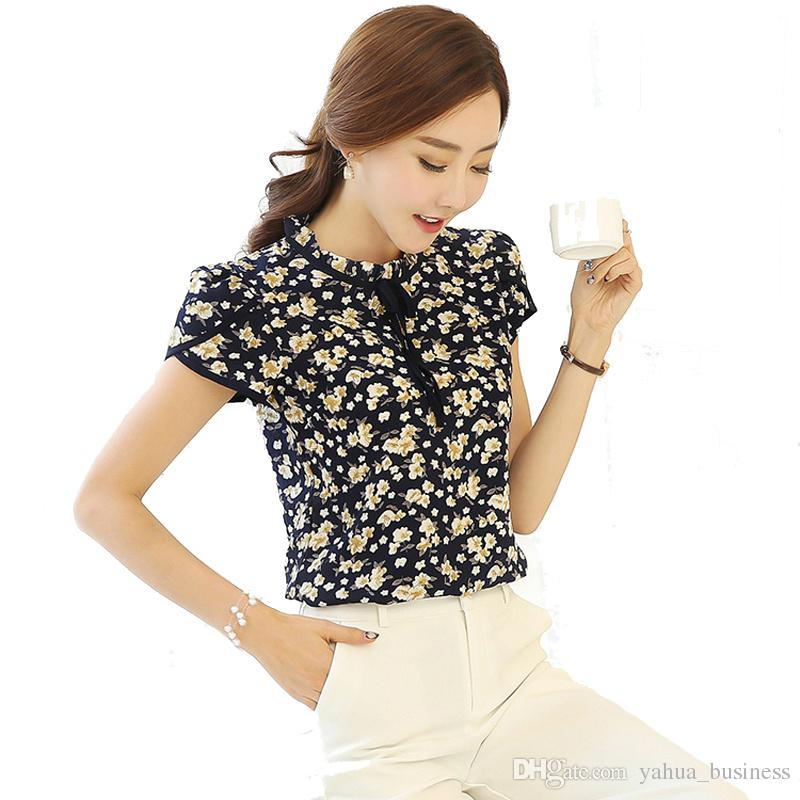 a61104092d5 2019 Blouse Womens Summer Floral Print Chiffon Blouse Ruffled Collar Bow  Neck Shirt Petal Short Sleeve Shirt Tops Plus Size Blusas Femininas From ...