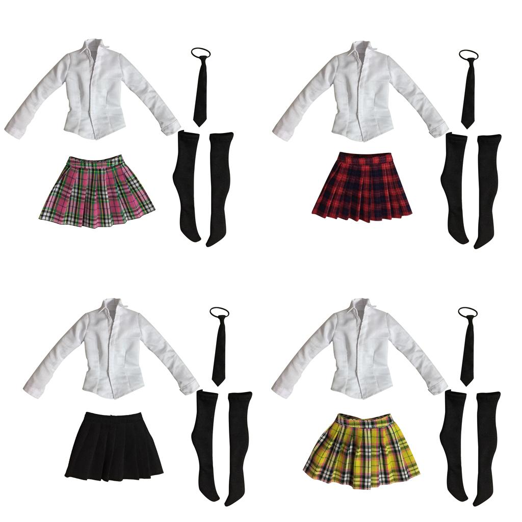 1/6 Student Uniform Shirt Skirt Set for 12' Action Female Body Hot Toys Phicen Kumik CY CG Girl Clothes Kids Toy Dolls Accessory