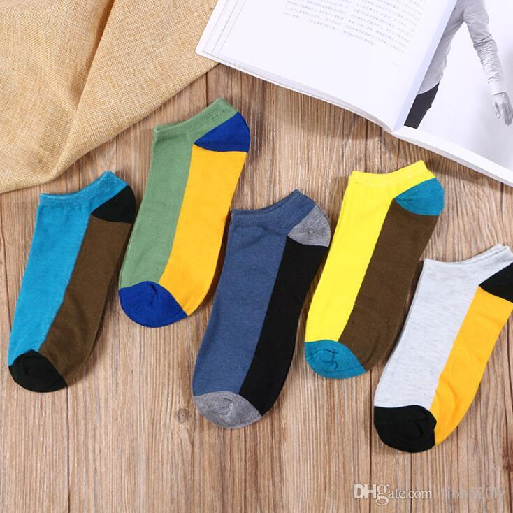 10 Pairs Colors Patchwork Printed Mens Soft and Light No Show Socks Non-Slip Grips Casual Low Cut Boat Sock for Men, Mix Colors