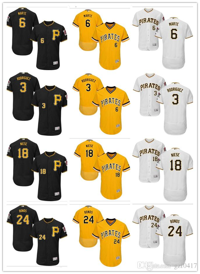 2019 Custom Men S Women Youth Pirates Jersey  3 Sean Rodriguez 6 Starling  Marte 18 Jon Niese 24 Barry Bonds Yellow Grey White Baseball Jerseys From  Gzf0417 759c76467