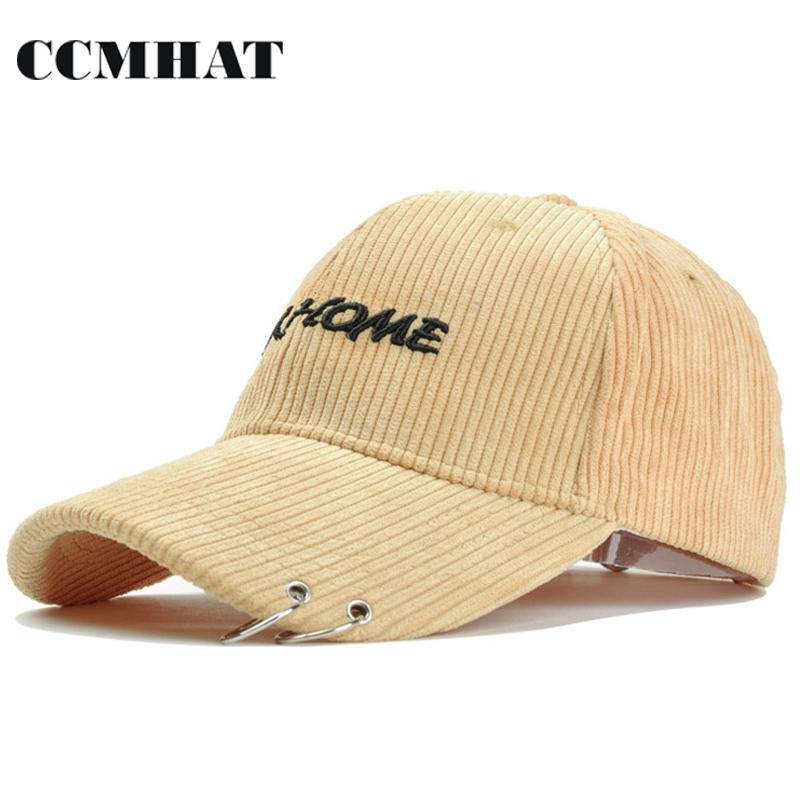 5ad34aade CCMHAT Hip Hop Baseball Caps For Men Corduroy Iron Ring Hats Caps For Dad  Cap Winter Novelty Men Hat Gorras Hlanas Hip Hop