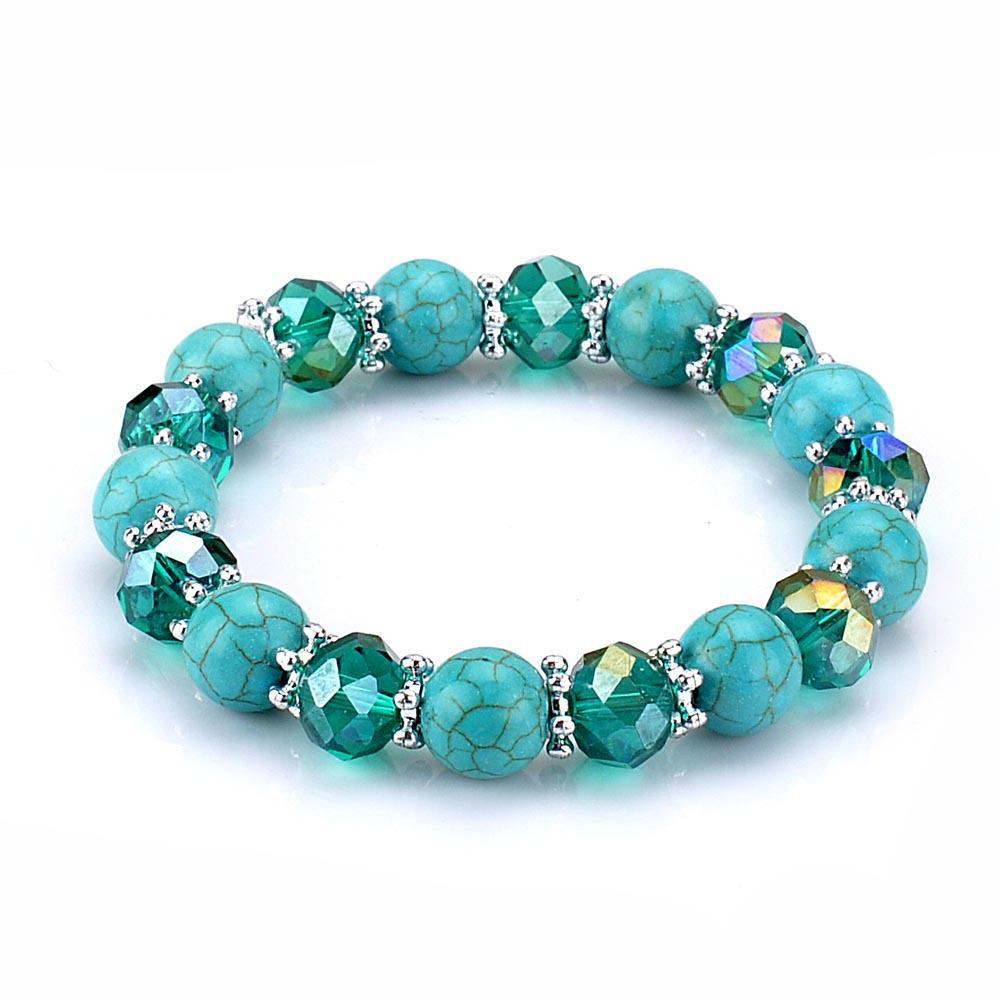 Pulsera del encanto de la joyería de la vendimia ágata turquesas perlas de cristal colorido asiático styple diamante estrella corazón pulseras cruzadas para mujeres