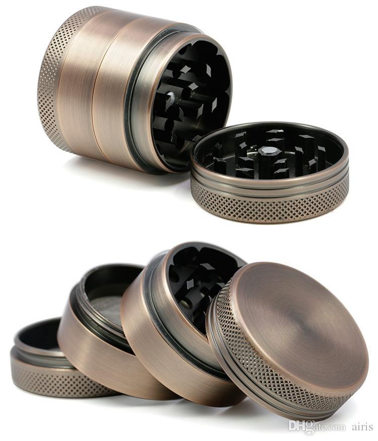 Herb Grinder diâmetro 40 milímetros Bronze Grinder 4 Peça de metal Aliuminum Alloy OEM logotipo da cor Tabaco Crusher