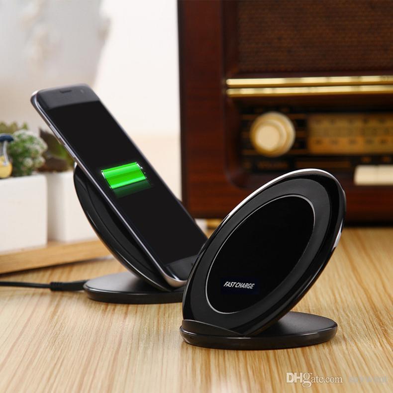 Caricabatterie wireless veloce Qi Galaxy S8 Caricabatterie rapido da tavolo con supporto Samsung S7 S8 con scatola al dettaglio