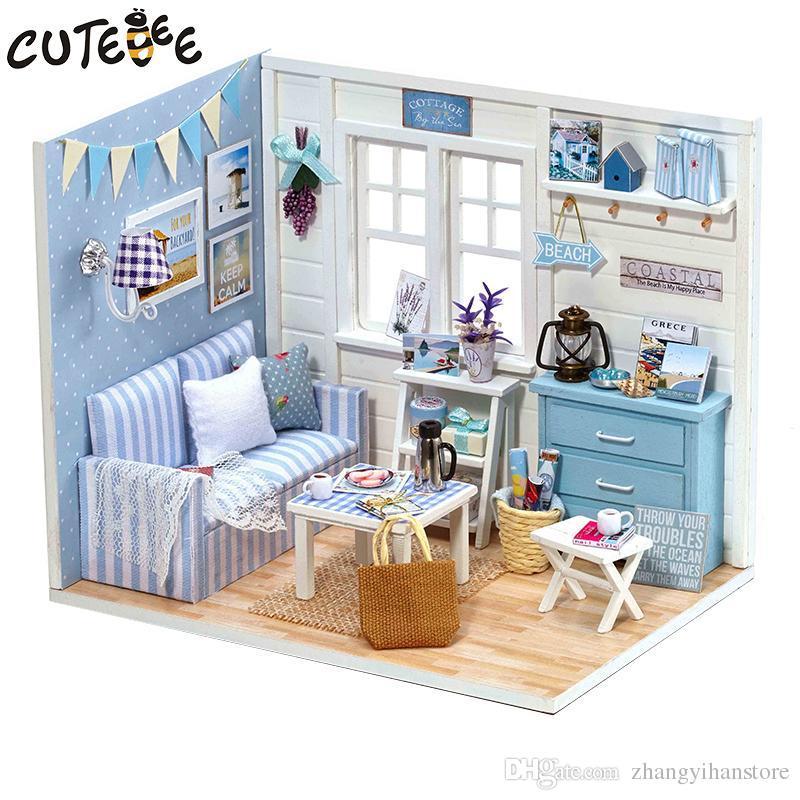 Compre Al Por Mayor Casa De Muñecas Muebles Diy Miniatura Cubierta ...