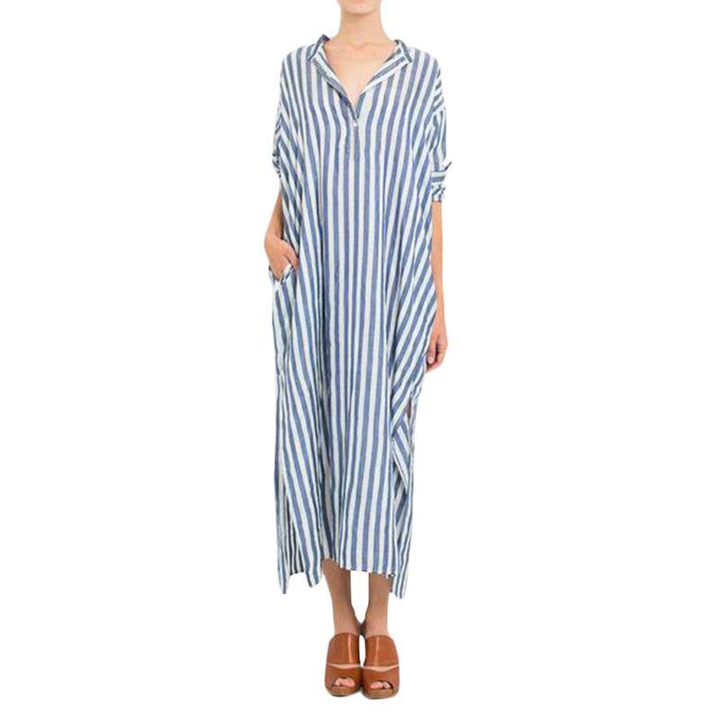 48855a9c452d Women 4XL 5XL Plus Size Dress Oversized Maxi Long Striped Dress Female  Oversized Casual Loose V Neck Split Hem Long Shirt Dress Black Dresses  Casual Black ...