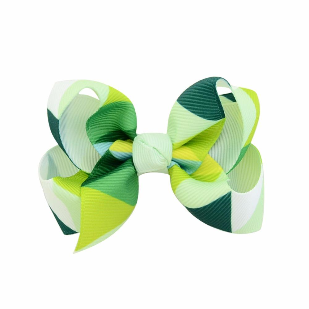 New Fashion Handmade Boutique Multi - color geometric design Hair Bow Alligator Clip Kids Girls Hair Accessories 2017