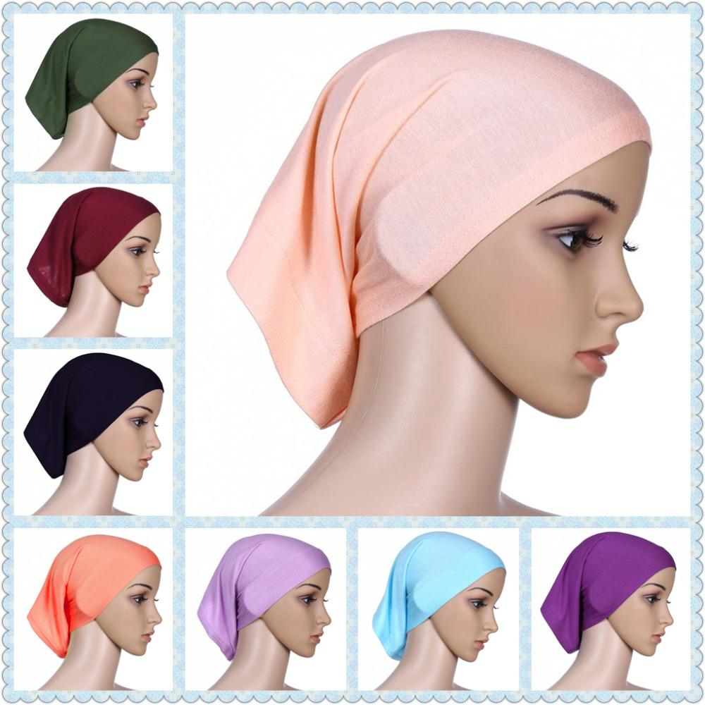 88d81c4a69e 2019 Muslim Head Cap Inner Hijabs For Women Square Hijabs Ladies Headscarf  Islamic Scarf Hat Shimmer Femee Cheap Wholesale From Trousseau