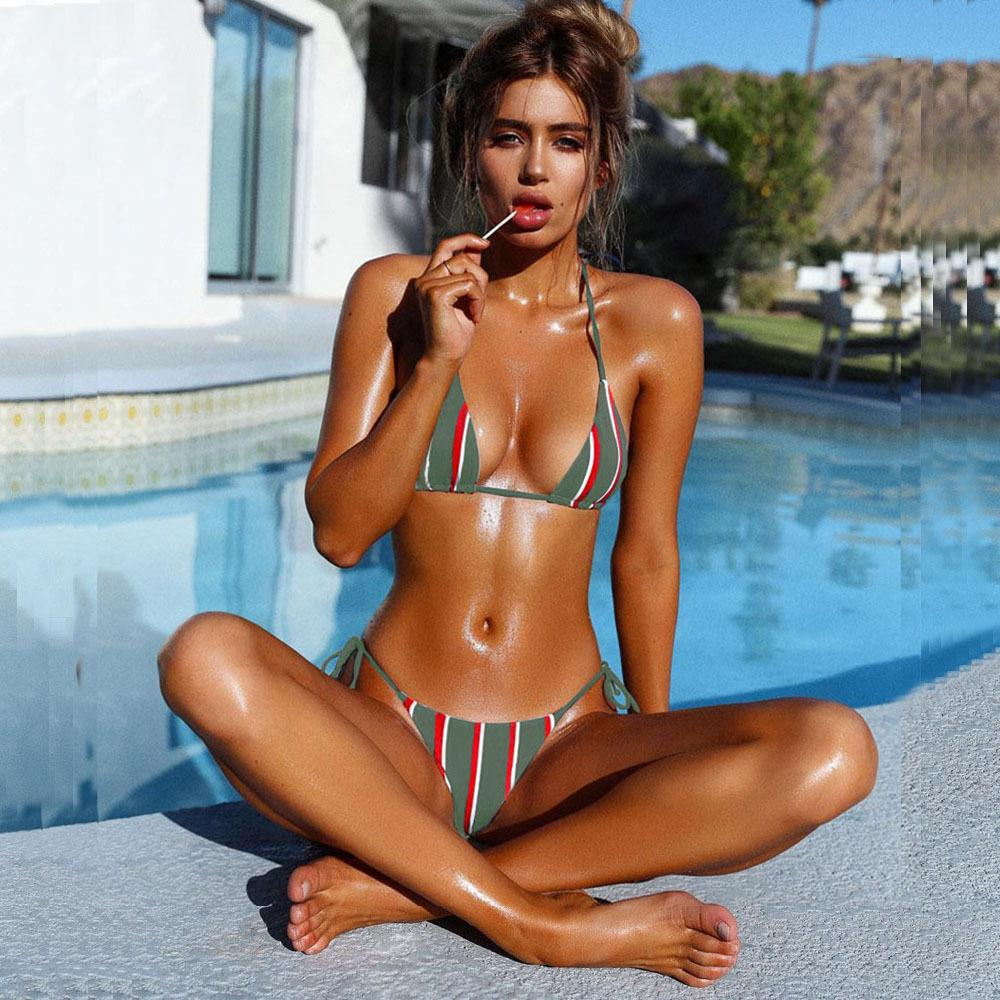 Women SwimWear Two-piece Suit Pure Color Stripe Bikini Sexy Solid Natrual Color Tight Backless With Chest Pad Without Steel Support