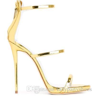 2018 Good Celebrity Décolleté con tacco alto Estate a spillo Party Scarpe da sposa Zapatos Mujer Plus Size Gladiatore tacco alto Sandali con tacco Donna