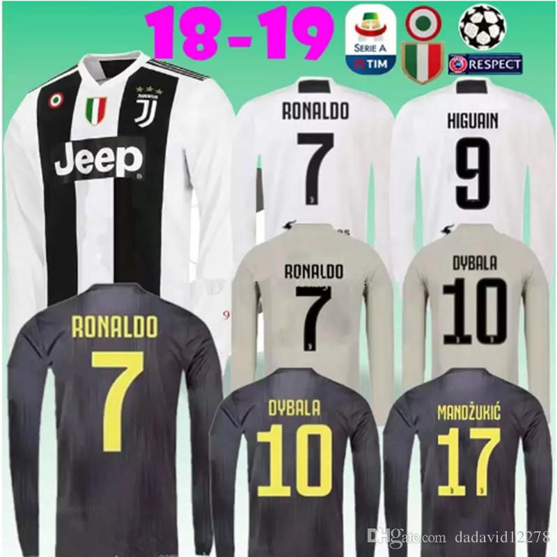 Camiseta De Mangas Largas 2018 2019 Juventus 18 19 RONALDO DYBALA MARCHISIO  MANDZUKIC PJANIC HIGUAIN Hogar Lejos Camiseta De Fútbol 3RD Por  Dadavid12278 3d81baccbe80d