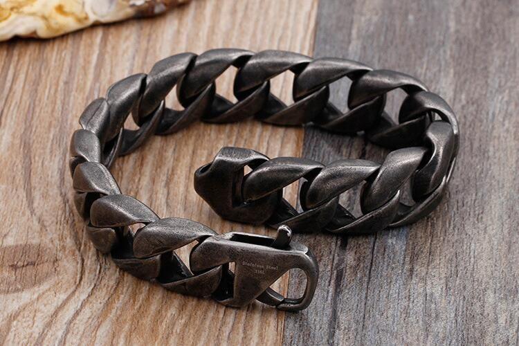 Punk Vintage Heavy Black Stainless steel Men's Brushed Cuban Curb Link Bracelet Nangle Jewlery 15mm For Husband Father Gifts 20-22cm