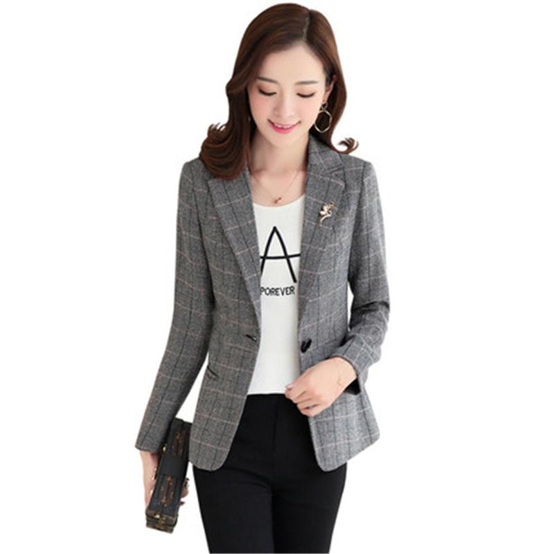 a6cfd48e60e 2019 Ladies Jacket 2018 Korean New Spring Autumn Women Plaid Blazers Female  Outerwear Casual Long Sleeved Business Suit Jacket Z400 From Paluo