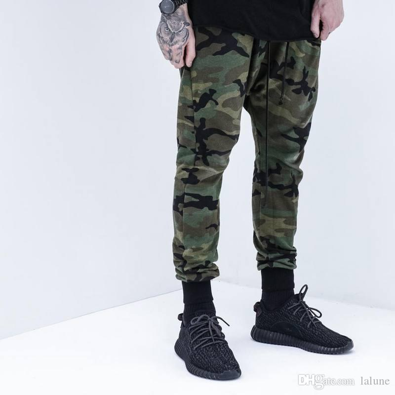 mens bottom jogger pants KANYE west high quality camo camouflage jogging sport hip hop trousers swag sweatpants brand clothing