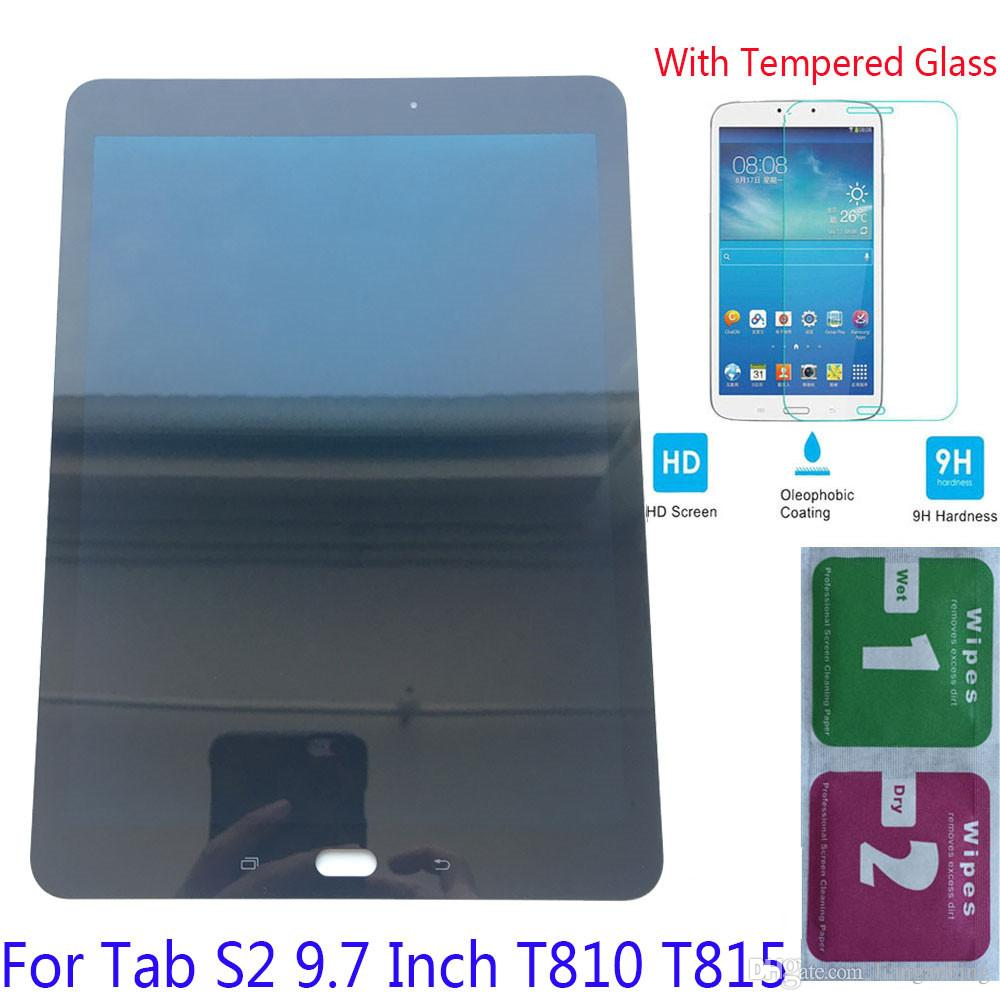 NEW LCD Display Touch Screen For Samsung Galaxy Tab S2 9.7 T810 Wi-Fi T815 4G Black White With Tempered Glass DHL logistics