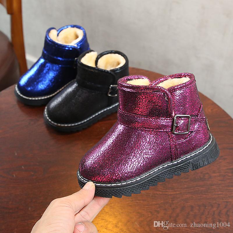 fcd14c176 Compre Diseñador Invierno Cálido Para Niños Botas Para Bebés Niñas Zapatos  De Lentejuelas Niño Pequeño Correa De Hebilla Antideslizante Botas De Nieve  ...